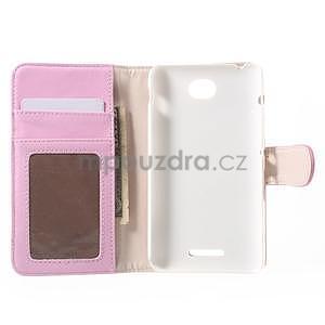 Koženkové pouzdro pro Sony Xperia E4 - růžové - 7