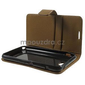 PU kožené peněženkové pouzdro na Sony Xperia E4 - hnědé - 7