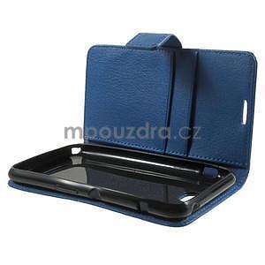 PU kožené peněženkové pouzdro na Sony Xperia E4 - modré - 7