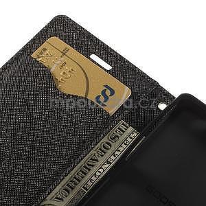 PU kožené peněženkové pouzdro na Sony Z3 Compact - černé - 7