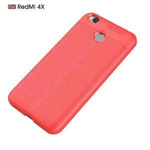 Litchi odolný obal s texturovanými zády na Xiaomi Redmi 4X - červený - 7