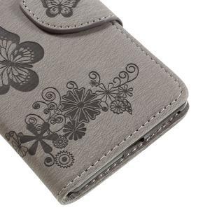 Butterfly PU kožené pouzdro na Sony Xperia E5 - šedé - 7