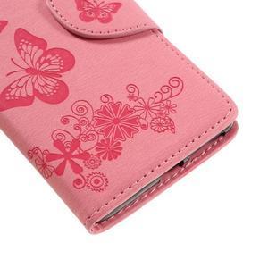 Butterfly PU kožené pouzdro na Sony Xperia E5 - růžové - 7