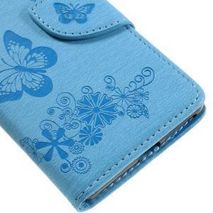 Butterfly PU kožené pouzdro na Sony Xperia E5 - světledmodré - 7