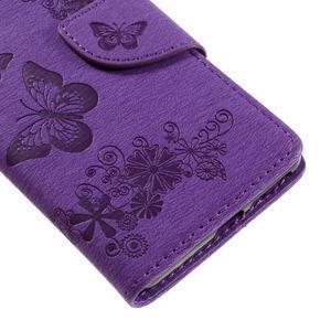 Butterfly PU kožené pouzdro na Sony Xperia E5 - fialové - 7