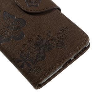 Butterfly PU kožené pouzdro na Sony Xperia E5 - hnědé - 7
