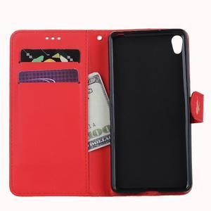 Motýlkové PU kožené pouzdro na mobil Sony Xperia E5 - červené - 7