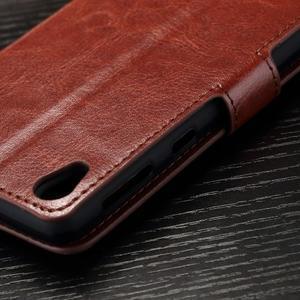 Horss PU kožené pouzdro na Sony Xperia E5 - hnědé - 7