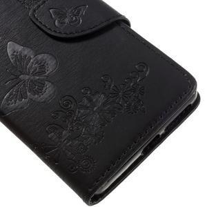Butterfly PU kožené pouzdro na Sony Xperia E5 - černé - 7