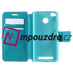 Horn PU kožené pouzdro na Xiaomi Redmi 3 Pro - modré - 7