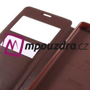Richi PU kožené pouzdro s okýnkem na Sony Xperia XA Ultra - hnědé - 7
