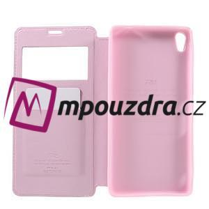 Richi PU kožené pouzdro s okýnkem na Sony Xperia XA Ultra - růžové - 7