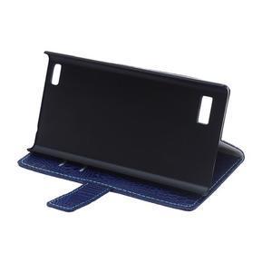 Croco style peněženkové pouzdro na BlackBerry Leap - tmavěmodré - 7