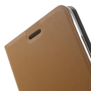Peněženkové PU kožené pouzdro na mobil Honor 5X - hnědé - 7
