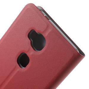 Peněženkové PU kožené pouzdro na mobil Honor 5X - červené - 7