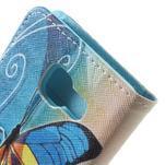 Peněženkové pouzdro na mobil Samsung Galaxy A3 (2016) - modrý motýl - 7/7