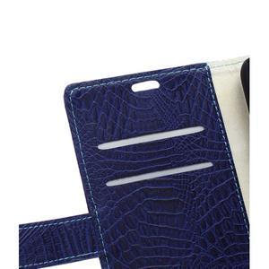 Peněženkové pouzdro s texturou krokodýlí kůže na Sony Xperia M5 - tmavědmodré - 7