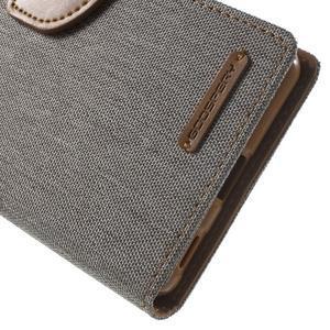 Canvas PU kožené / textilní pouzdro na Sony Xperia M5 - šedé - 7