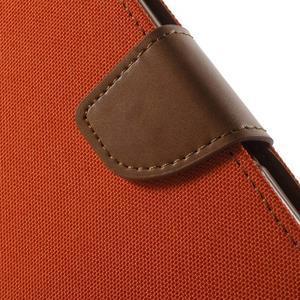 Canvas PU kožené / textilní pouzdro na Sony Xperia M5 - oranžové - 7