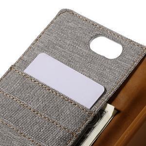 Canvas PU kožené/textilní pouzdro na Asus Zenfone Selfie ZD551KL - šedé - 7