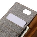 Canvas PU kožené/textilní pouzdro na Asus Zenfone Selfie ZD551KL - šedé - 7/7