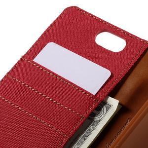 Canvas PU kožené/textilní pouzdro na Asus Zenfone Selfie ZD551KL - červené - 7