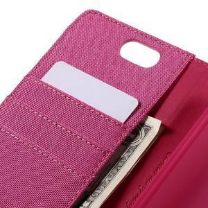 Canvas PU kožené/textilní pouzdro na Asus Zenfone Selfie ZD551KL - rose - 7