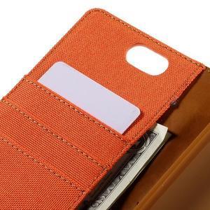 Canvas PU kožené/textilní pouzdro na Asus Zenfone Selfie ZD551KL - oranžové - 7