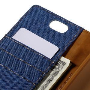 Canvas PU kožené/textilní pouzdro na Asus Zenfone Selfie ZD551KL - modré - 7