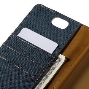 Canvas PU kožené/textilní pouzdro na Asus Zenfone Selfie ZD551KL - tmavěmodré - 7