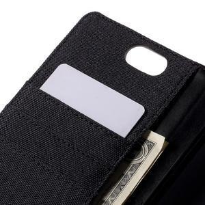 Canvas PU kožené/textilní pouzdro na Asus Zenfone Selfie ZD551KL - černé - 7