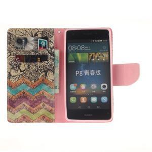 Leathy PU kožené pouzdro na Huawei P8 Lite - retro květiny - 7