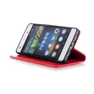 Magicfly PU kožené pouzdro na Huawei P8 Lite - červené - 7