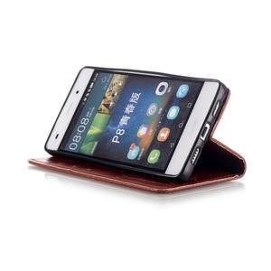Magicfly PU kožené pouzdro na Huawei P8 Lite - hnědé - 7