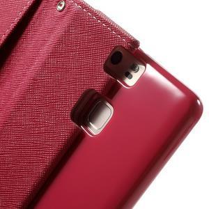 Diary PU kožené pouzdro na mobil Huawei P9 - růžové - 7