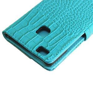 Croco peněženkové pouzdro na mobil Huawei P9 Lite - modré - 7