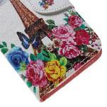 Emotive PU kožené pouzdro na Huawei Y5 - květiny a Eiffelova věž - 7/7