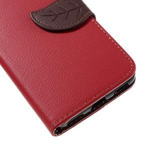 Leaf PU kožené pouzdro na mobil Huawei Y6 - červené - 7