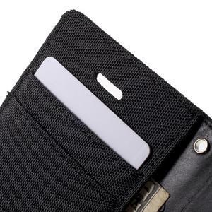 Canvas PU kožené/textilní pouzdro na iPhone 4 - černé - 7