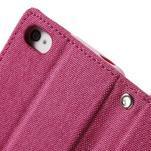Canvas PU kožené/textilní pouzdro na iPhone 4 - rose - 7/7