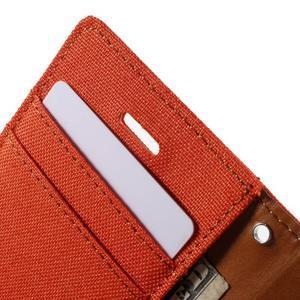 Canvas PU kožené/textilní pouzdro na iPhone 4 - oranžové - 7