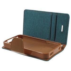 Canvas PU kožené/textilní pouzdro na iPhone 4 - zelenomodré - 7