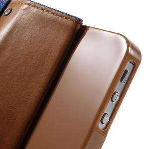 Canvas PU kožené/textilní pouzdro na iPhone 4 - modré - 7