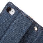 Canvas PU kožené/textilní pouzdro na iPhone 4 - tmavěmodré - 7/7