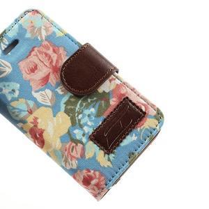Elegantní PU kožené pouzdro na iPhone 4 - modré pozadí - 7