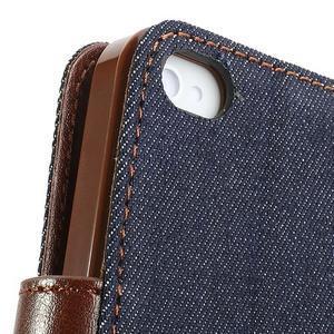 Jeans peněženkové pouzdro na iPhone 4 - černomodré - 7