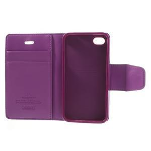 Diary PU kožené knížkové pouzdro na iPhone 4 - fialové - 7