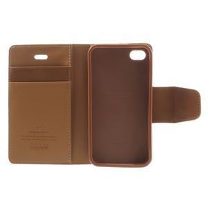 Diary PU kožené knížkové pouzdro na iPhone 4 - hnědé - 7