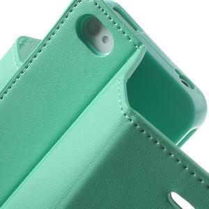Diary PU kožené knížkové pouzdro na iPhone 4 - azurové - 7