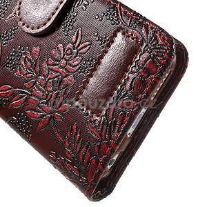Elegantní květinové peněženkové pouzdro na iPhone 6 a 6s - červenohnědé - 7